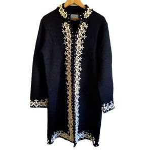 Vintage Wool Floral Cardigan Sweater Duster Black